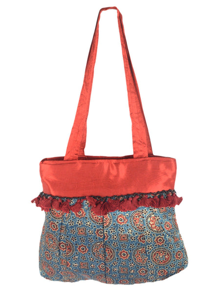 Kutch Embroidered Mashru Tote Bag From Gujarat In Royal Blue & Red - PNCKGB16JN58