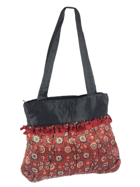 Kutch Embroidered Mashru Tote Bag From Gujarat In Multicolour - PNCKGB16JN59
