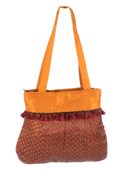 Kutch Embroidered Mashru Tote Bag From Gujarat In Sepia Brown & Yellow - PNCKGB16JN60