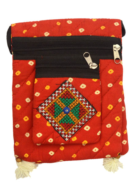 Kutch Embroidered Shoulder Bag From Gujarat In Red - PNCKGB16JN7