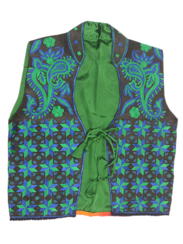 Punjabi Waist Coat In Black & Green - PPPJ29D12