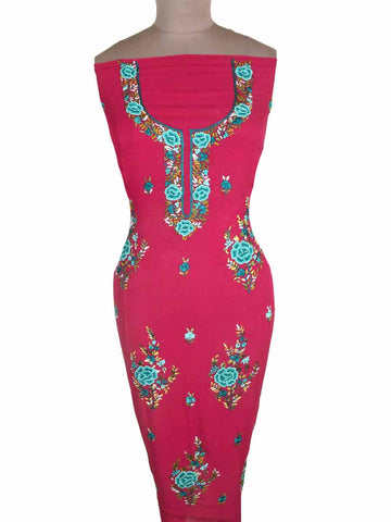 Kurti With Phulkari Embroidery From Punjab In Pink - PPPKM14AP8