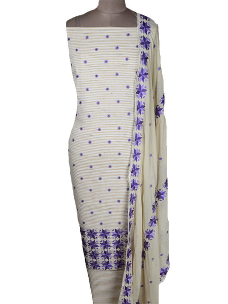 Khadi Cotton Suit From Punjab In Beige & Blue - PPPS11MH10