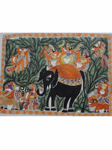 Hand Made King Salhesh on Elephant Painting From Mithilanchal - MH-HDP19SP23