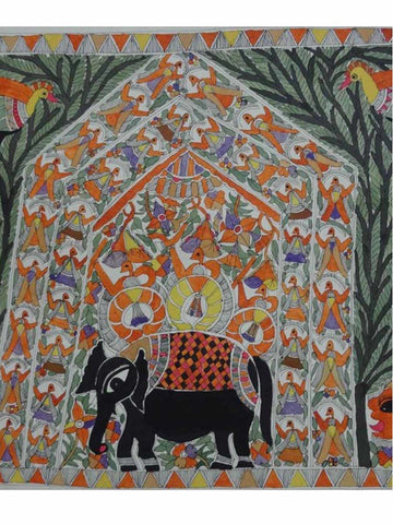 Hand Made King Salhesh on Elephant in Gahbar Painting From Mithilanchal - MH-HDP19SP24