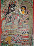 Hand Made Krishna and Radha on Throne Painting From Mithilanchal - MH-HDP19SP10