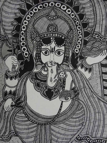Hand Made Ganesha Trio Painting From Mithilanchal - MH-HDP19SP12