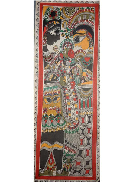 Hand Made Shiv Parvati Marriage Painting From Mithilanchal - MH-HDP19SP15