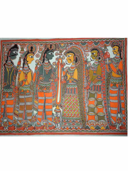 Hand Made Lord Ram and Sita Marriage Painting From Mithilanchal - MH-HDP19SP1