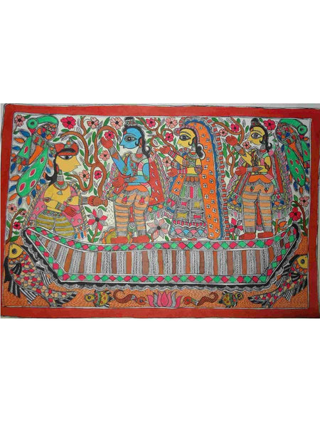 Hand Made Kevat with Lord Rama Painting From Mithilanchal - MH-HDP19SP3