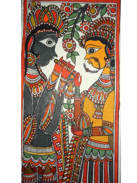Hand Made Lord Krishna playing flute with Radha Painting From Mithilanchal - MH-HDP19SP7