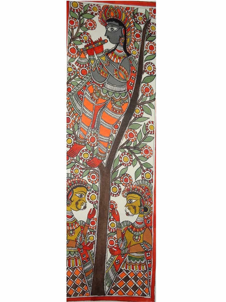 Hand Made Lord Krishna playing flute on tree Painting From Mithilanchal - MH-HDP19SP8