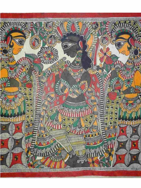 Hand Made Krishna Playing Flute With Gopis Painting From Mithilanchal - MH-HDP19SP17