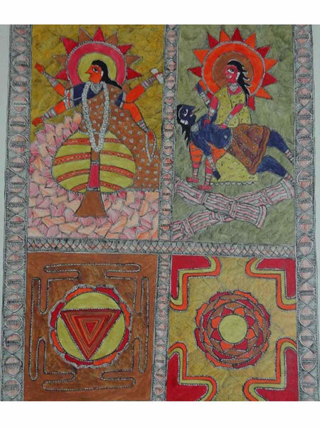 Hand Made Mata Bhairavi and Narshimbha Avtaram Painting From Mithilanchal - MH-HDP19SP21