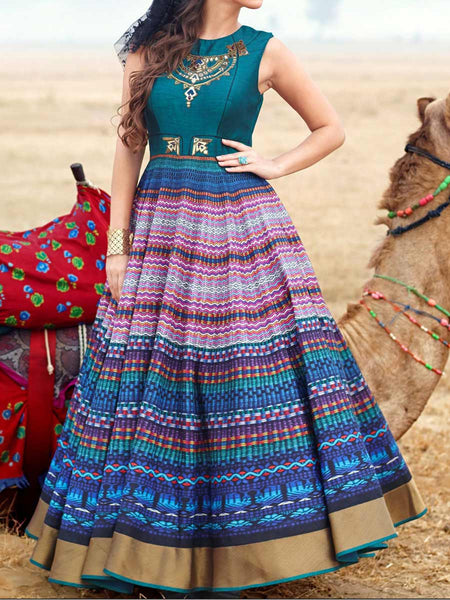 Printed Blue Pure Bhaglpuri Digital Print Handworked Gown From Surat - TA-ASGG20SP22
