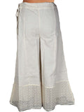Khadi Divided Skirt In Cream With Cut Work From Jaipur - DRKPS15AR1