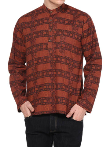 Short Printed Kurta From Jaipur In Rust Red - PJRKM23MY1