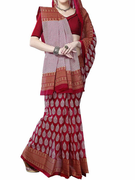 Cotton Printed  Sarees from Kolkata In Red - FPKSA20JL37