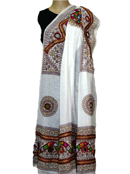 White Cotton Kutch Embroidery Dupatta (Hand Work) - ND-CPKD4MH11