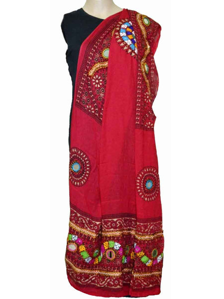 Red Cotton Kutch Embroidery Dupatta (Hand Work) - ND-CPKD4MH12