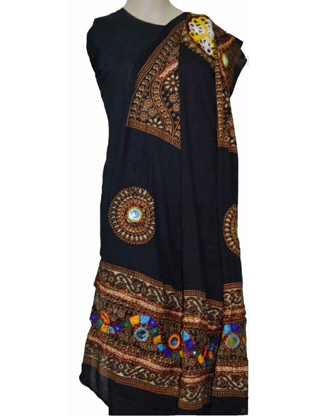 Black Cotton Kutch Embroidery Dupatta (Hand Work) - ND-CPKD4MH13
