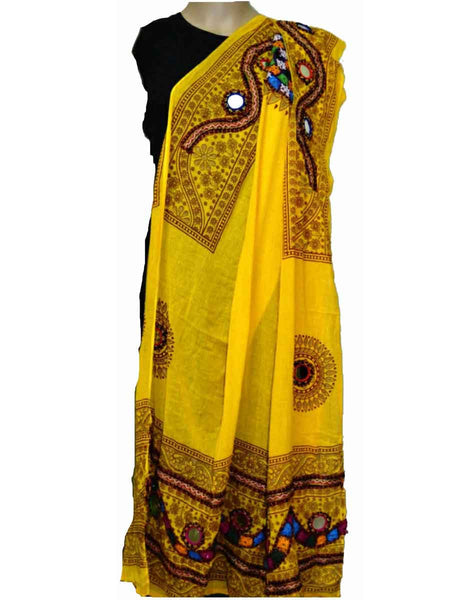 Yellow Cotton Kutch Embroidery Dupatta (Hand Work) - ND-CPKD4MH5