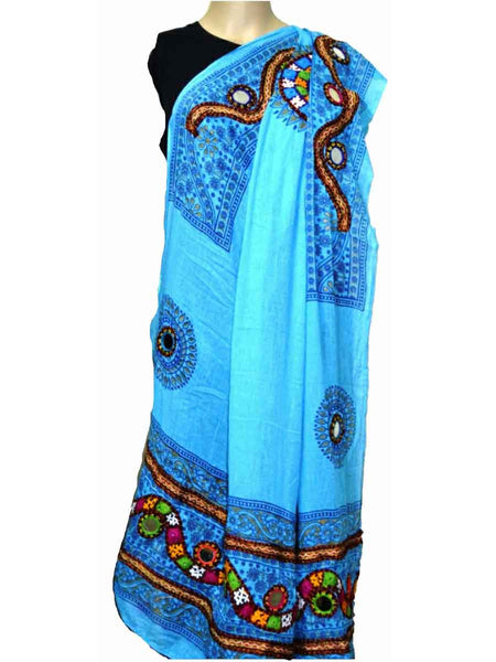 Light Blue Cotton Kutch Embroidery Dupatta (Hand Work) - ND-CPKD4MH7