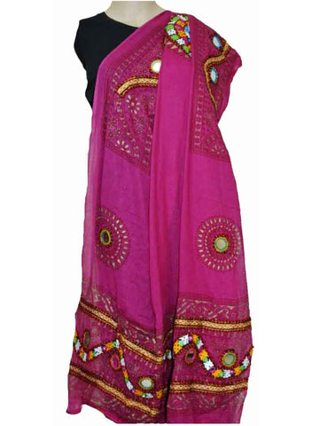 Pink Cotton Kutch Embroidery Dupatta (Hand Work) - ND-CPKD4MH3