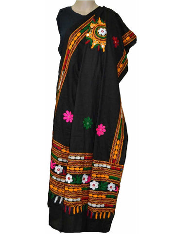 Black Cotton Kutch Embroidery Dupatta - ND-CPKD4MH9