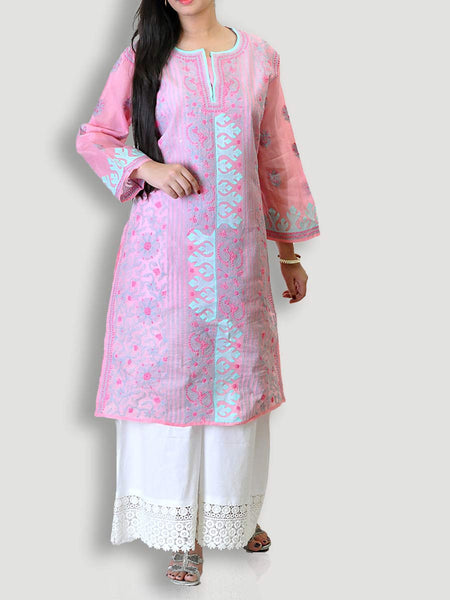 Pink Cotton Kurta With Chikankari - KPLUK28JL3