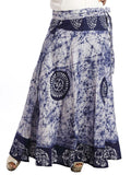 Off White & Navy Blue Cootn Wrap Around Skirt With Batik Work - KPLUS28JN35