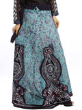 Blue Cotton Wrap Around Skirt With Batik Work - KPLUS28JN34