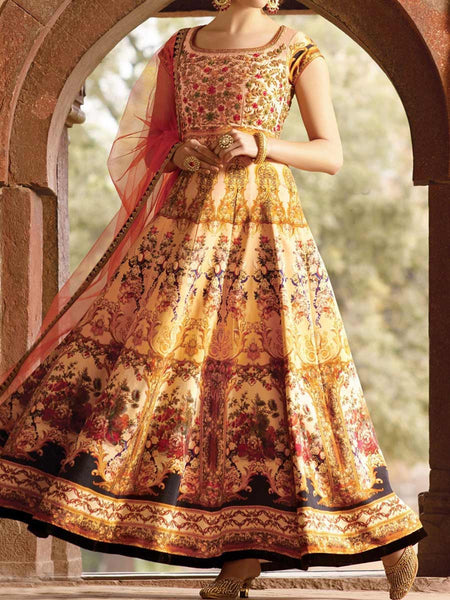 Printed cream brown Pure Bhaglpuri Digital Print Handworked Gown From Surat - TA-ASGG20SP8