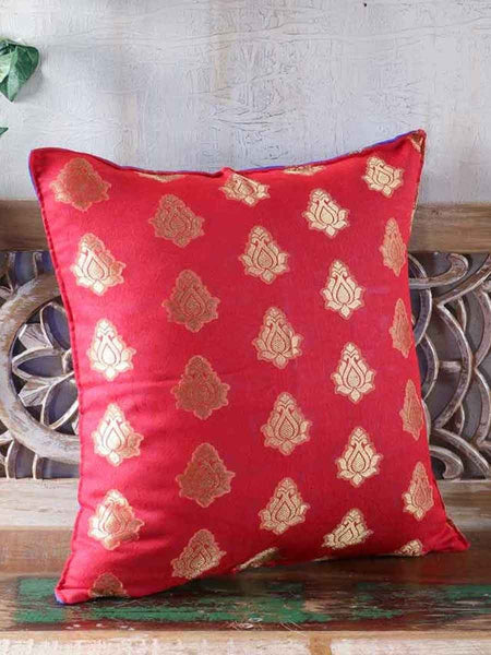 Double Sided Brocade Cushion Covers In Red & Blue - RDDCC30JL5