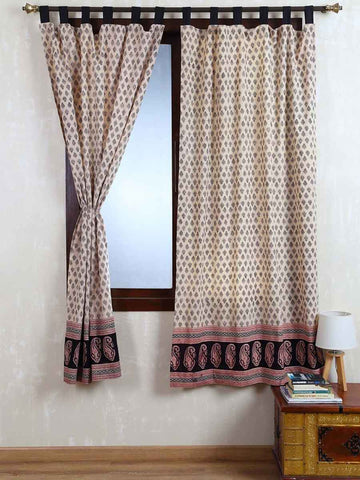 Vegetable Dyes Handblock Printed Bagh Curtain In Cream - RDDHC30JL5