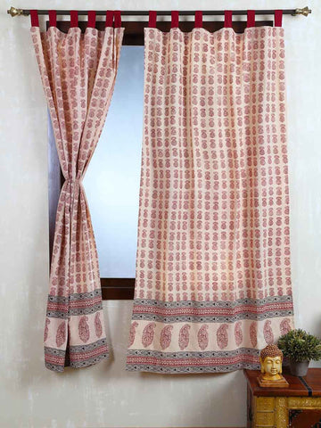 Vegetable Dyes Handblock Printed Bagh Curtain In Cream - RDDHC30JL6