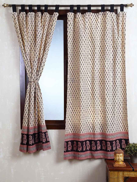 Vegetable Dyes Handblock Printed Bagh Curtain In Cream - RDDHC30JL7