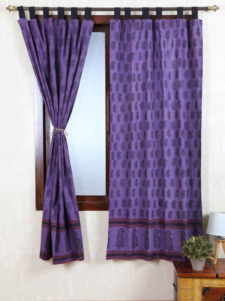 Vegetable Dyes Handblock Printed Bagh Curtain In Purple - RDDHC30JL8