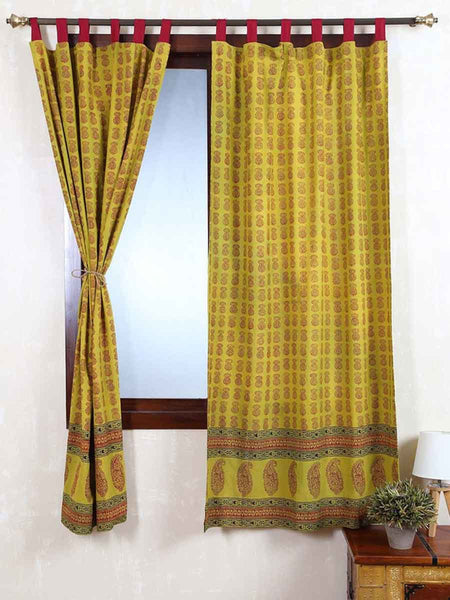 Vegetable Dyes Handblock Printed Bagh Curtain In Green - RDDHC30JL10