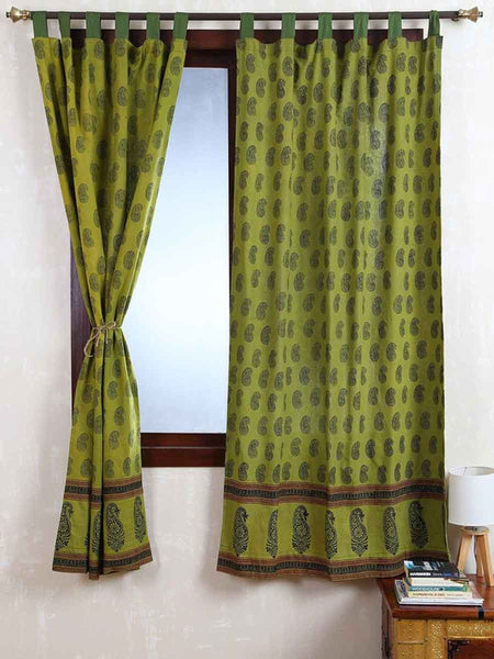 Vegetable Dyes Handblock Printed Bagh Curtain In Green - RDDHC30JL11