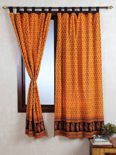 Vegetable Dyes Handblock Printed Bagh Curtain In Turmeric Yellow - RDDHC30JL13