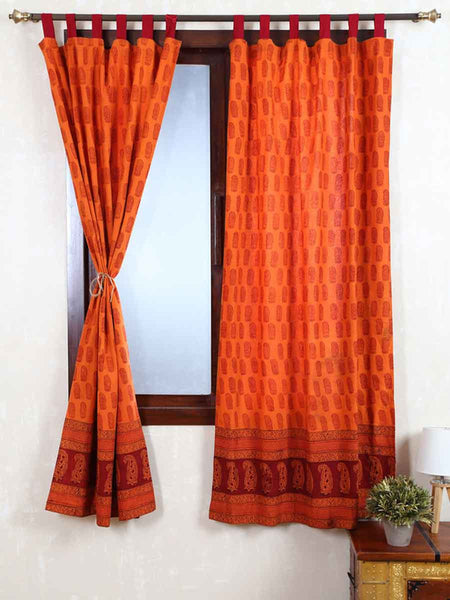 Vegetable Dyes Handblock Printed Bagh Curtain In Turmeric Yellow - RDDHC30JL15