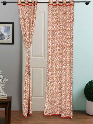Hand Block Printed Organic Dyes Multicolour Curtain - RDDHC30JL4