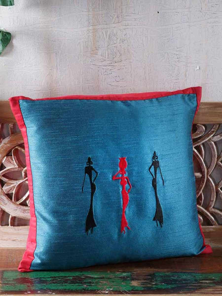 Embroidered Raw Silk Cushion Covers In Blue & Red - RDDCC30JL4