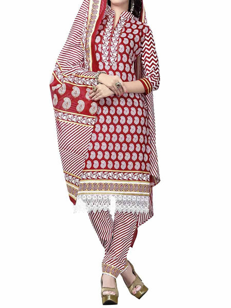 Cotton Suit From Kolkata In Red - FPKWA9AG164