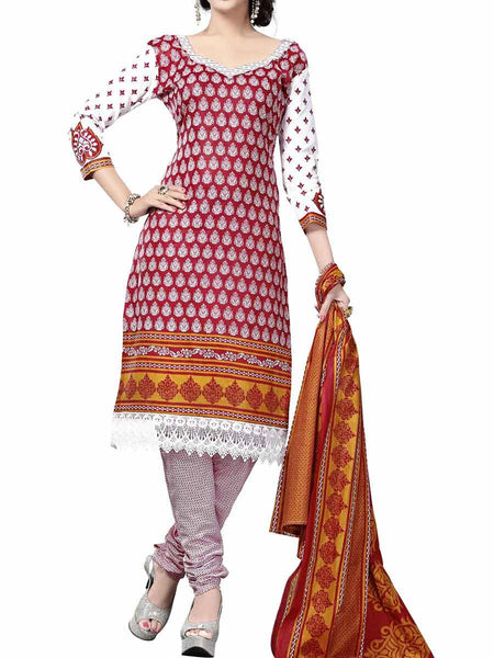 Cotton Suit From Kolkata In Red - FPKWA9AG165