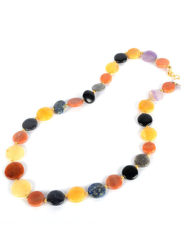 Agate Stone Necklaces From Khambhat In Multicolour - SBCKGJN16JN8
