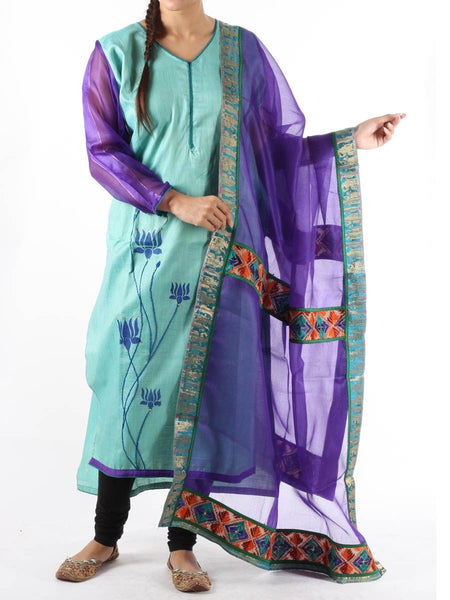 Phulkari Kurti With Dupatta In Mint Blue - PSDS16OT18