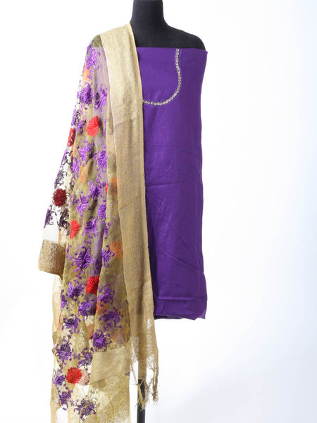 Phulkari Kurti With Dupatta In Purple - PI-CPPK3JN2