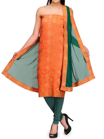 BANARASI SUIT IN ORANGE & GREEN-S1-OPBUS22JV10